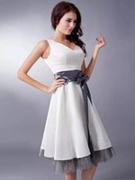 Wholesale Grey Organza Bridesmaid Dresses - White Satin Grey Organza Deep V-Neck Sleeveless A-Line Short Bridesmaid Dresses 2017 Spring Summer Prom Dresses