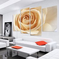 4 PCS Orange Rose Flower Canvas Pintura Imagem de parede de flores para salas de estar Unframed Oil Modular Pictures (No Frame)