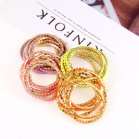 Wholesale Kids Wholesale Acrylic Bangle - New fashion 6 Pieces Sets Multicolor Kids Bracelets Cute Candy Colors Stretchy Bangle fashion Jewelry For Girls Child Daughter Gift