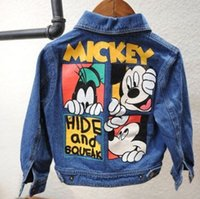 Wholesale Canvas Jacket Wholesale - Spring Autumn Girls Kids Cowboy Jacket Mickey Lovely Mouse Denim Top Button Costume Outfits Jean Coat Clothes