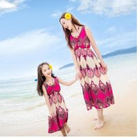 Wholesale Clothing For Moms - Mother Daughter Dresses for Girls Family Dress Mother Daughter Women and Girl Dresses Beach Family Fitted Clothes Sleeveless Mom