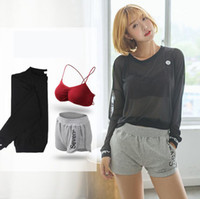Wholesale Summer Sportswear Women - Summer new 2017 casual sportswear suit long-sleeved net yarn bra bra noodles fitness shorts running three-piece