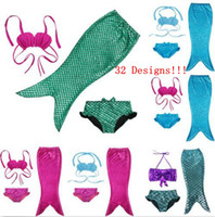 Wholesale Kids Swim Dress - Swimmable Mermaid Tail Swimwear Kids Girls Bikini Set Beach Cute Swimming Fancy Dress Fish Tail Party Costume 32 Designs OOA1311