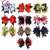 Wholesale Double Bows - 10 Styles Polka Dot Boutique Hair Bow Clips For Cute Girl Hair Accessories Double Stacked Bow