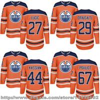 Wholesale Leon Logo - Customized Mens Womens Kids 2017-2018 New Logo Edmonton Oilers 27 Milan Lucic 29 Leon Draisaitl Zack Kassian Benoit Pouliot Hockey Jerseys
