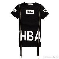 Wholesale X Men Long Sleeve T Shirt - Men Fashion Hip Hop T- Shirt Zipper Side HBA Hood By Air Harajuku t shirts for men Spinal Cord X-ray Streetwear Tees free shipping