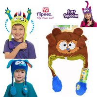 Wholesale Wholesale Hot Monkey - Fashion HOT Super Fun Action Hats Flipeez Monster Monkey Puppy Kitty Hat Warm Thick Protect Ear Cartoon Children's Accessories Hat A5814