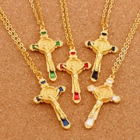 Wholesale Gold Chain 24 Inches Wholesale - 20pcs lot Enamel Cristo Redentor Saint Benedict 5Colors Medal Gold Plated Cross Crucifix Pendant Necklaces 24 inches Chains N1670-G