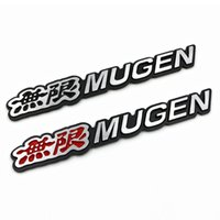 Wholesale honda fit chrome - 3D Aluminum Mugen Emblem Chrome Logo Rear Badge Car Trunk Sticker Car Styling for Honda Civic Accord CRV Fit and so on