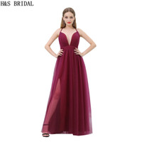 Wholesale Evening Thin Dresses - Dark Red Tulle Cheap Evening Dresses V Neck Thin Straps Sexy Burgundy Prom Party Gowns B015