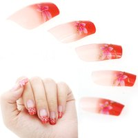 Wholesale Finger Nail Tip Kits - Wholesale- 24pcs French Acrylic Short False Nails Art Tips Manicure Pink Orange Kit Artificial Full Stiletto Fake Nail Art Design
