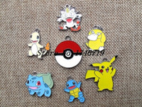 Wholesale Slide Enamel - New 50 pcs Poke go Pocket Monster Enamel Metal Charms Jewelry Making Pendants Charms A--12