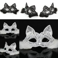 Sexy Lady Cat Mask Negro Blanco Lace Half Fox Mask Dress Party Animal Face Accesorios Masquerade Halloween Party Prop