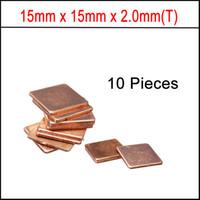 Wholesale Copper Pad Cpu - Wholesale- New 15mm x15mm x 2.0mm Copper Shim Pad Heatsink thermal Pad for Laptop GPU CPU VGA Chip RAM Copper Heat sink
