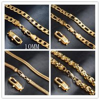 Wholesale Unique Tin Gifts - Men 18K Gold Necklace New Trendy 18K Real Gold Plated 8MM Wide Unique Snake Chain Necklaces Men Jewelry Y#82