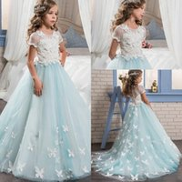 Wholesale pretty lace wedding dresses sleeves resale online - Short Sleeves Lace Top Pretty Flower Girl Dresses Jewel Neck A Line Ball Gown Tulle Kids Glitz Girls Pageant Gowns With D Flower Appliques