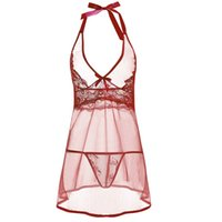 Wholesale Transparent Lace Dress Sex - Sexy Lingerie Women Sex Underwear Lace Mesh Transparent Babydoll Dress Bow Lingerie Nightdress Mini Dress With G-String
