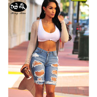 Wholesale Hole Tear Sexy - Wholesale- Hong Miao 2017 Summer Fashion Ripped Denim Shorts women Street Hole Stretch Knee Length Jeans Slim Sexy Torn Femme Short jeans