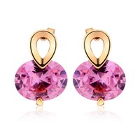 Crystal Jewelry Clear Big Diamond Pink Stud Earrings Casamento Exquisite Vintage Charming Jewelry para Girs for Women