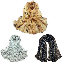 Wholesale Ladies Neck Scarves Wholesale - Wholesale- KLV 2016 New Brand Fashion 1PC Women Lady Musical Note Chiffon Neck Scarf Shawl Muffler Scarves From India A12