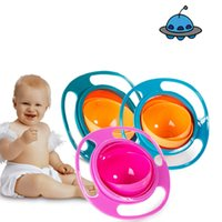 Wholesale Ufo Rotating Bowl - 3 colors High Quality Children Universal Gyro Bowl 360 Rotate Spill-Proof Bowl Dishes Baby UFO Top bowl C2316