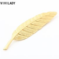 Wholesale Girls Birthday Sweater - Wholesale- VIVILADY Simple Fashion Gold Plated Feather Leaf Brooches Pins Women Girls Sweater Costume Bijoux Accessory Party Birthday Gifts