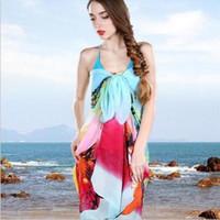 Wholesale Pink Pareo Wrap - Beach Towel Floral Chiffon Pareo Dress Sarongs Wrap Beach towel Swimwear Cover up long scarf for women bikini