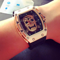 Wholesale Mechanical Watches Skeleton Square - Square metal big face rose steel case transparent skeleton watches military sports men wristwatch mechanical Quartz movement rubber band