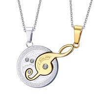 Wholesale couple necklace design - Wholesale- Vnox Music Design Couples Necklace Pendant for Lovers 316l Stainless Steel 2pcs sets