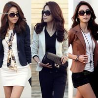 Wholesale Korean Long Blazers For Women - Korean Fashion jackets for women Slim Casual Short Blazer Suit Blazer Coat Plus Size Outwear 5 Colors Ladies Clohting