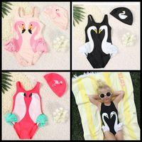 Wholesale Parrot Clothes - kids swimwear Ins Swan Bikini Girls Flamingos Parrot Swimsuit Ruffled Bathing Suit Beachwear cap with One-Piece Bikini Clothes