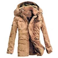 ingrosso cappotto di trincea uomo di collana mandarino-Wholesale- Giacca invernale da uomo Casual spesso velluto giacche calde Parka hombre Mens cotone Giacca a vento militare con cappuccio giacca lungo trench coat
