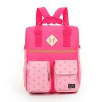 Wholesale Wholesale Plain Notebook - Wholesale- NEW cute Girls Backpack Women canvas School Bag Students Notebook Backpacks Casual Teenage pink dot printing Multifunction Bags