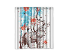 Customs 36 48 60 66 72 80 (W) X 72 (H) Inch Shower Curtain Elephant And  Girl Art Design Polyester Fabric Shower Curtain