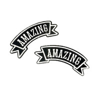 Wholesale Embroidered Patches Letters - HOT! 2PCS English Letter Embroidered Patches Iron On For Clothing Accessory Badges Cartoon Motif Applique Embroidery For kid Men