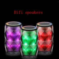 Wholesale Mini Speaker For Cellphone Stereo - wireless bluetooth speaker 7 Colorful lights mini speaker multi-functional stereo speaker with tf card for cellphone iphone Free DHL