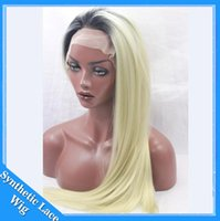 1B T 613 # Two Tone Ombre Sintético Lace Front Perucas Glueless Fibras resistentes ao calor Hairs Ombre loira Cosplay Silky Straight Sintéticas Perucas