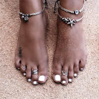 Wholesale O Rings Jewelry - New Retro Star And O Pendant Anklet Beach Foot Ring For Women Holiday barefoot sandals Anklets Bracelets Jewelry Party Gifts HZ