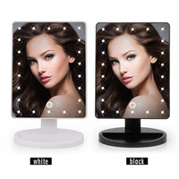 Wholesale Led Lit Mirrors - LED Touch Screen Makeup Mirror Professional Vanity Mirror Lights Health Beauty Adjustable Countertop 180 Rotating