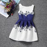 Wholesale Party Dress White Beautiful Design - 2017 wholesale latest fancy kids beautiful model dark blue and white casual cotton dresses children party dress designs