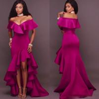 prom kleider größe 12 hoch niedrig großhandel-Dark Fushia Prom Kleider Sexy South African Off The Shoulder Abendkleider High Low Rüschen Plus Size Frauen Formelle Party Kleid Billig