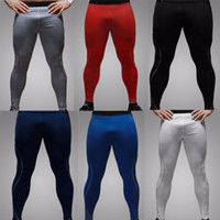 Wholesale Waist Slim Under Pants - Wholesale- New Man Sport Tight Slim Running Fitness Pants Long Leggings Thermal Under Trousers Joggers Quick drying Wholesale