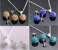 Wholesale Disco Jewellery - Top quality 10mm CZ diamond crystal clay disco ball shamballa necklace earring studs jewelry sets mix color Jewellery Set
