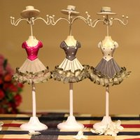 Wholesale Dress Model Mannequins - Cute Mannequin Model Dress Style Jewelry Earrings Necklaces Holder Display Stand Mini Rack @M23