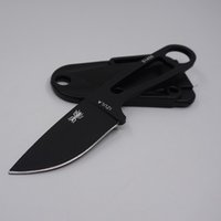 Wholesale Survival Necklace - Portable Pocket Camping Survival Knives Ant Necklace Stainless Steel Fixed Blade Knife Outdoor Tool Full Tang Hunting knife Black Color