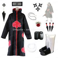 Wholesale naruto cosplay outfits for sale - Uchiha Itachi Cosplay Costume Naruto Akatsuki Robe Headband Weapons Shoes Halloween Outfit
