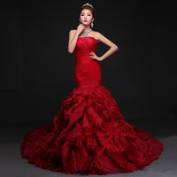 Wholesale Red Long Tailed Skirt - New style lady red long tail wedding dress women's fish tail wrapped chest dress dinner sleeveless prong dress skirt sexy