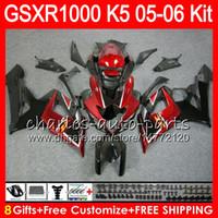 Wholesale Gsx K5 - 8 Gifts 23 Colors Bodywork For SUZUKI GSXR1000 05 06 GSXR-1000 12HM11 TOP Dark red GSX-R1000 K5 GSXR 1000 2005 2006 05 06 Fairing Kit Body