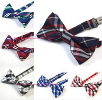 Wholesale Wholesale Navy Uniform - Wholesale- Children Boys Bowtie Bow Ties Pre-Tied Adjustable Baby Kids Navy Blue Plaid Students School Uniforms Bow Tie Free Shipping 50pcs