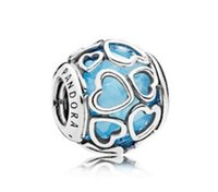Wholesale bead charms sterling silver 925 resale online - 2017 summer authentic silver bead Fits for pandora bracelets Original sterling silver bead Blue Encased in Love Charm color free